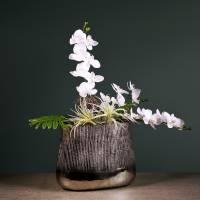 Decorative pot oval silver 35cm x 19cm H29cm
