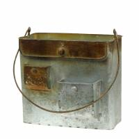 Metal bag cream / brown 23x15x20cm