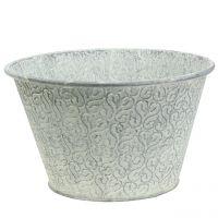 Zinc bowl with decor cream washed Ø29cm H17cm