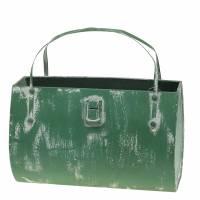 Planter bag metal green, white washed H16cm