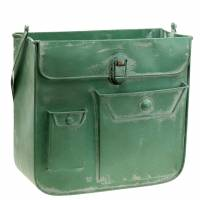 Planter bag with handle metal green, white washed H30cm