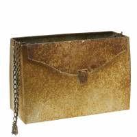 Planter bag with chain metal gray / rust H21cm
