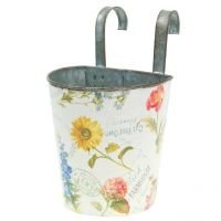 Plant pot with flower design for hanging H14,5cm