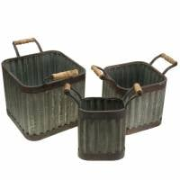 Planter with handles square industrial style 36 / 31.5 / 24cm set of 3