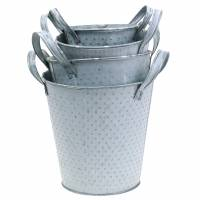 Zinc pot with handles gray dotted Different sizes