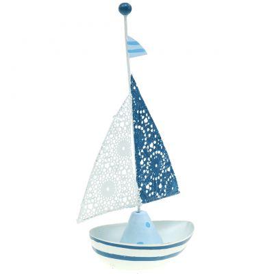 Deco sailboat metal blue, white 12,5cm x 20,5cm, buy online