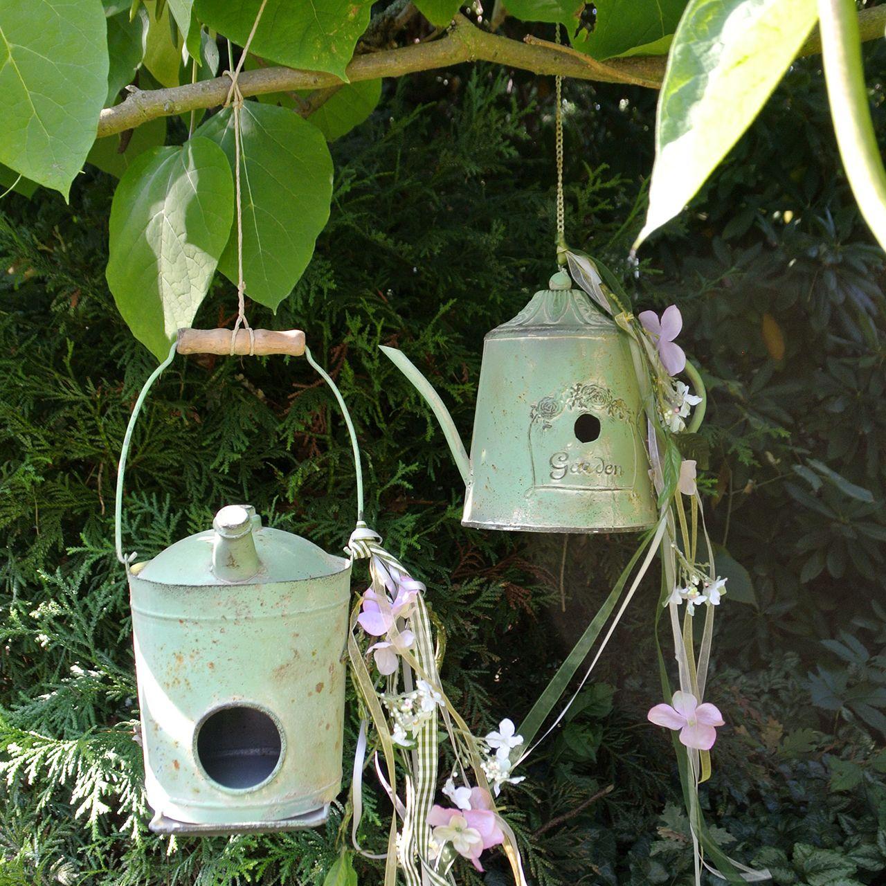 Birdhouse oil jug antique green Ø16cm H20cm
