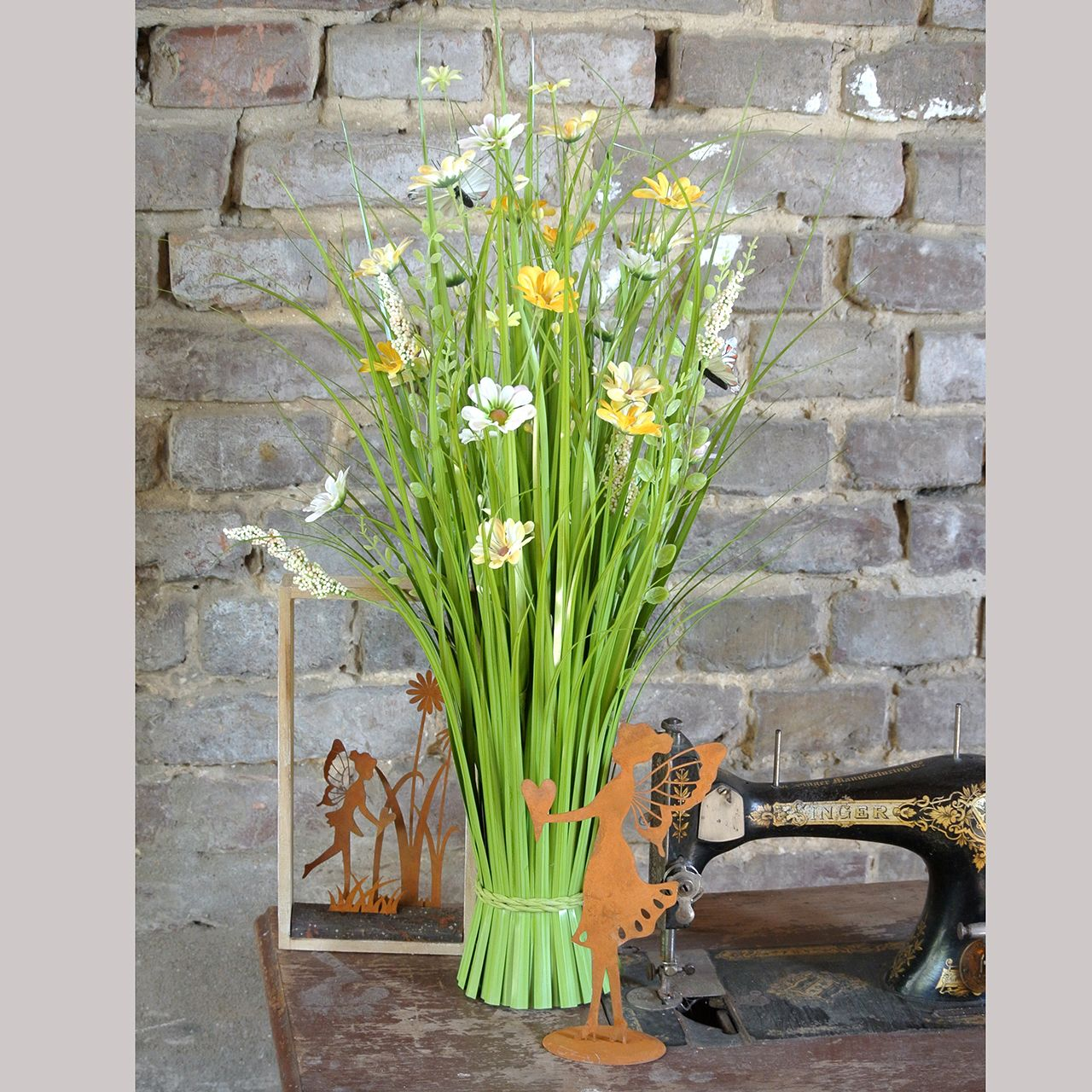 Bunch of grasses with flowers and butterflies Orange Artificial plants 70cm