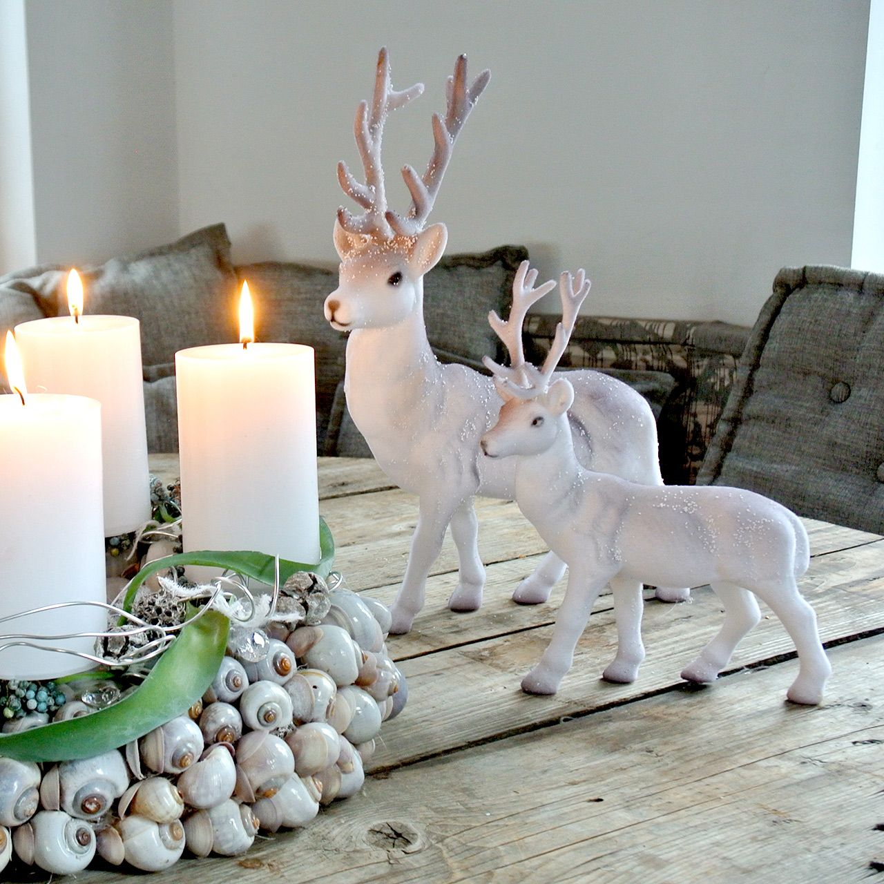 Decorative deer flocked / snowed 27.5cm 2pcs