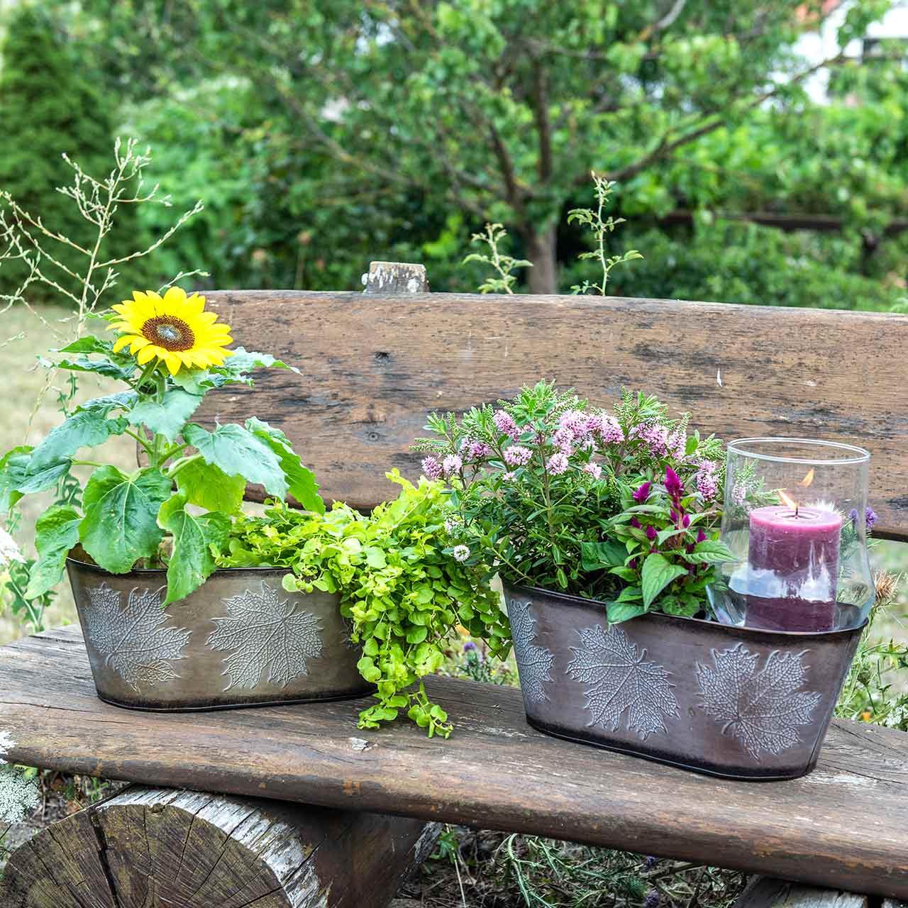 Decorative plant pot with leaves oval zinc metallic gray, orange, brown 38 × 20cm H15cm 3pcs