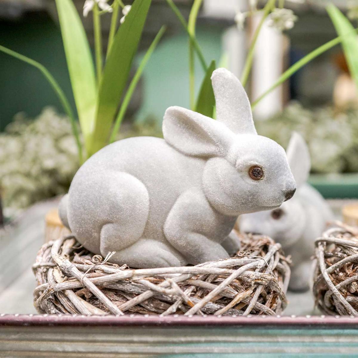 Decorative figure bunny gray, spring decoration, easter bunny sitting flocked 3pcs