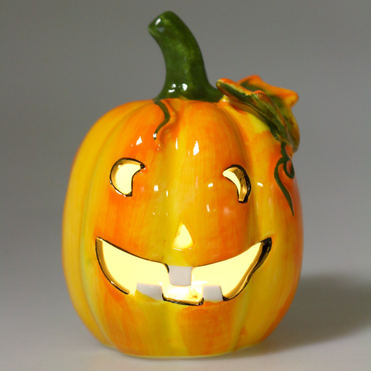 Pumpkin with LED Ø7,5cm H10cm 3pcs