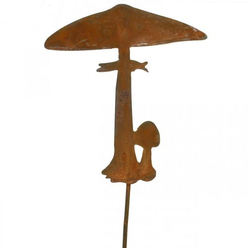 Rust decoration mushroom garden plug metal autumn decoration 44cm