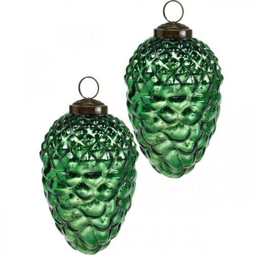 Advent decoration, decorative cones, autumn fruits real glass, antique look Ø7cm H11.5cm 6pcs