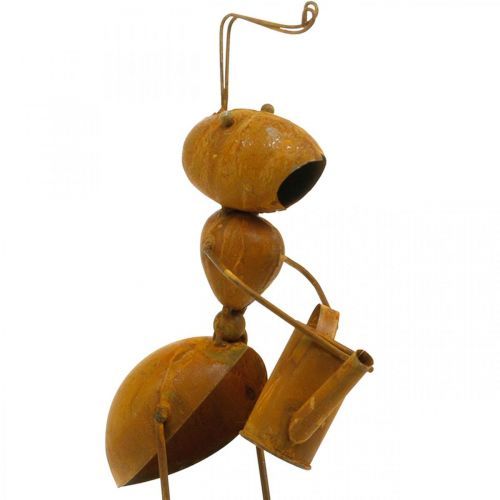 Decorative plug ant, bed decoration, ant with watering can, flower plug patina