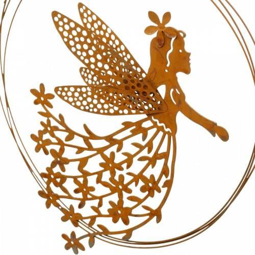 Flower elf pendant, spring decoration, decorative ring with fairy, patina Ø17cm 3pcs