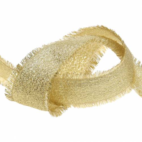 Deco ribbon gold with fringes 40mm 15m