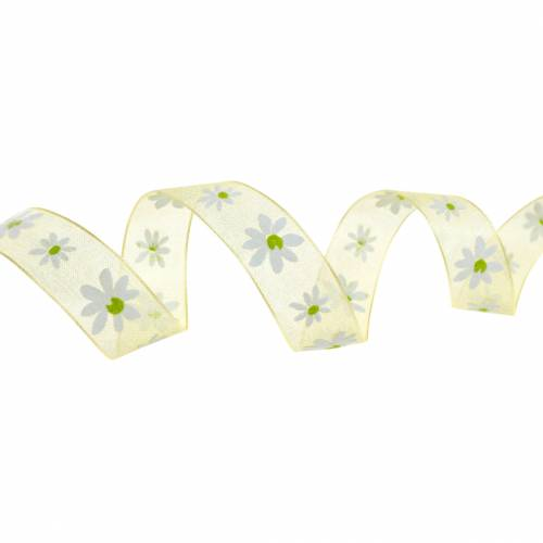 Organza ribbon yellow flowers 15mm fabric ribbon decorative ribbon summer decoration 20m
