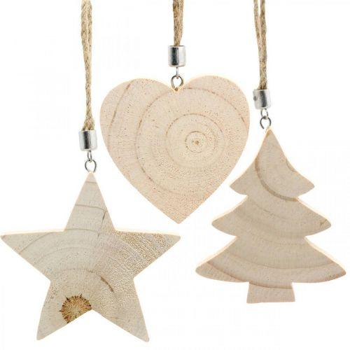 Decorative pendant star / heart / Christmas tree, wood decoration, Advent H9.5 / 8 / 10cm 6pcs