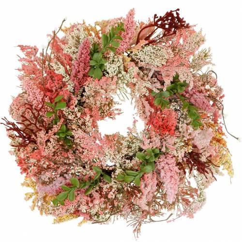 Heather wreath artificial pink Ø48cm