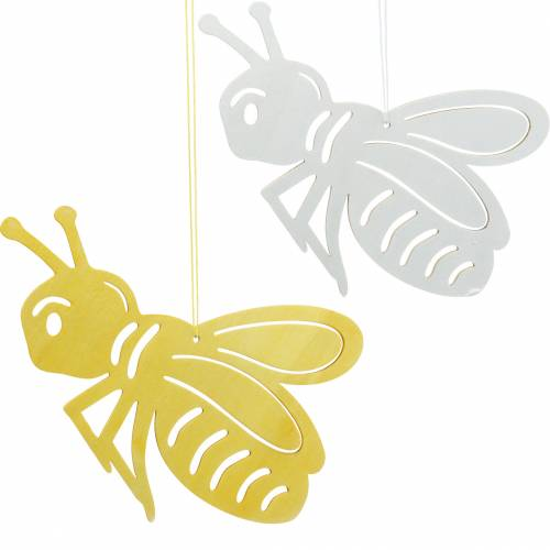 Wooden figure bee, spring decoration, honeybee to hang up, decorative insect 6pcs