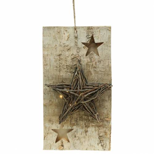 Christmas sign birch with LED star / batteries 40cm