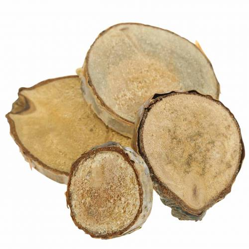 Birch slices round natural 5cm 1kg for decoration with bark