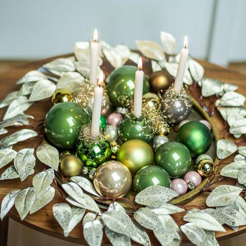 Wreath of leaves artificial champagne tip leaves Ø48cm