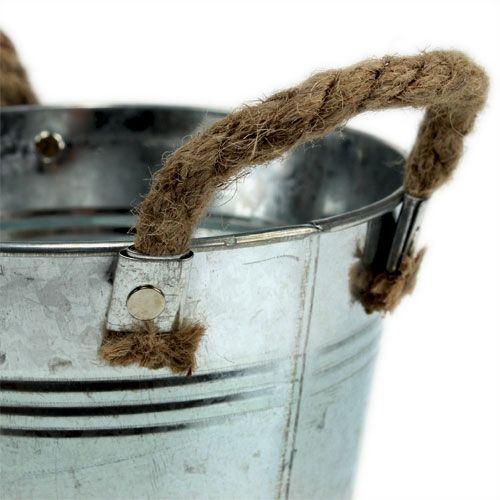 Tin bucket with rope handles shiny Ø18cm
