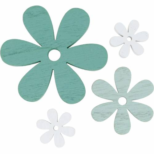 Sprinkle decoration blossom green, mint, white wood flowers to sprinkle 29pcs