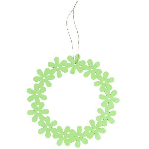 Flower wreath wood in green Ø35cm 1pc