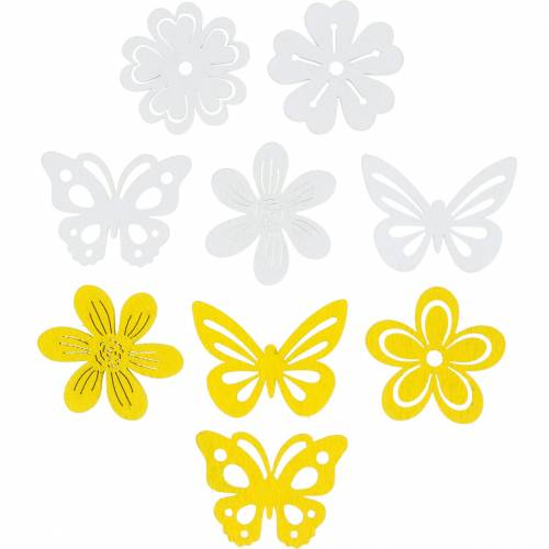 Flowers and butterflies to sprinkle yellow, white wood sprinkle decoration spring decoration 72pcs