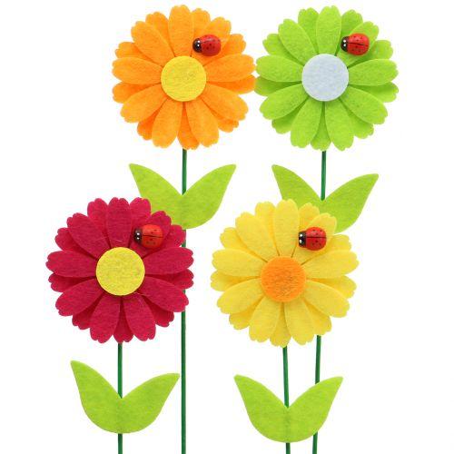Deco sticker flower with ladybird H24cm 12pcs