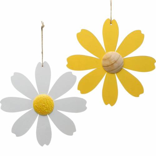 Wooden blossoms, summer decoration, daisies yellow and white, decoration flowers for hanging 4pcs