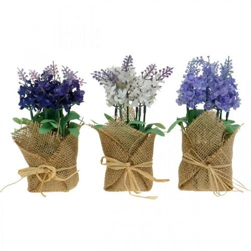 Artificial lavender, summer decoration, artificial flower, lavender in a jute sack white / purple / blue 5pcs