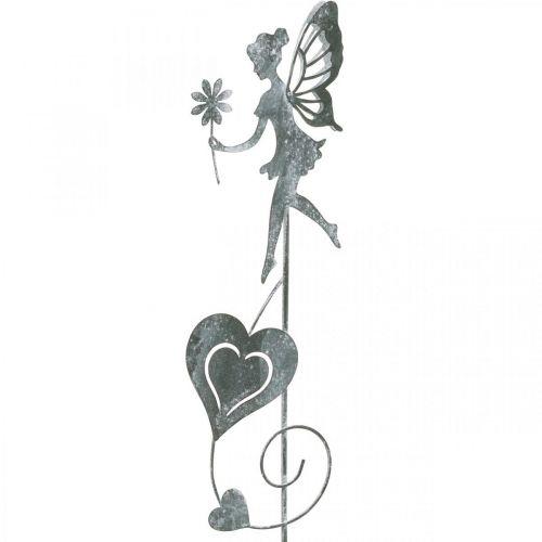 Garden decoration, decorative plug flower elf, spring decoration, metal plug, fairy with hearts, Valentine's Day 2pcs