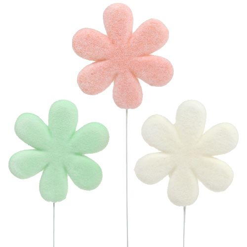 Flower plug flower pastel Ø8,5cm 12pcs