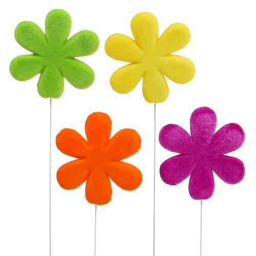 Flower plug flower flocked Ø8,5cm 8pcs