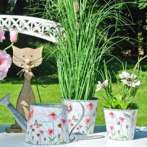 Flower pot metal Echinacea spring decoration planter Ø13.5cm H11.5cm