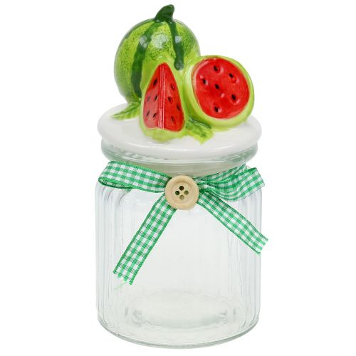 Candy dish made of glass with fruit cover melon H15,5cm