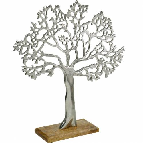 Metal tree, decorative beech on a wooden base, silver metal decoration, tree of life, mango wood