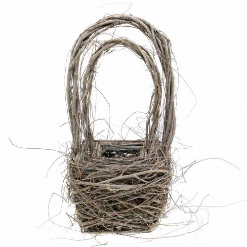 Decorative wicker basket with handle natural H36.5cm H45cm set of 2