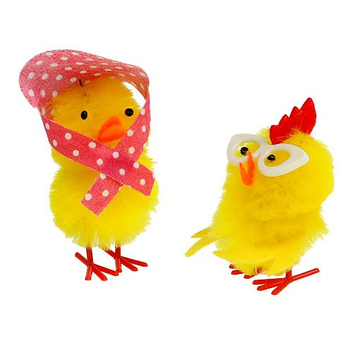 Chenille chicks 5cm yellow 6pcs