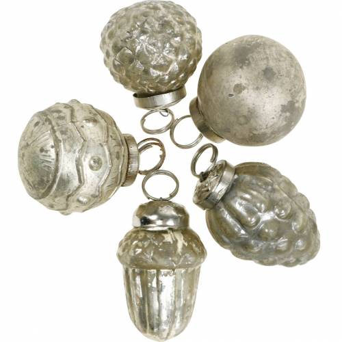 Mini tree decorations autumn fruits and pearls, antique silver real glass 3.4–4.4cm 10pcs