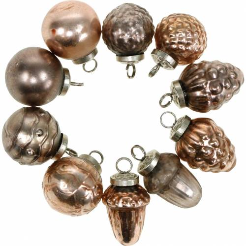 Mini-Christmas tree decorations mix 4.5cm copper assorted real glass 10pcs