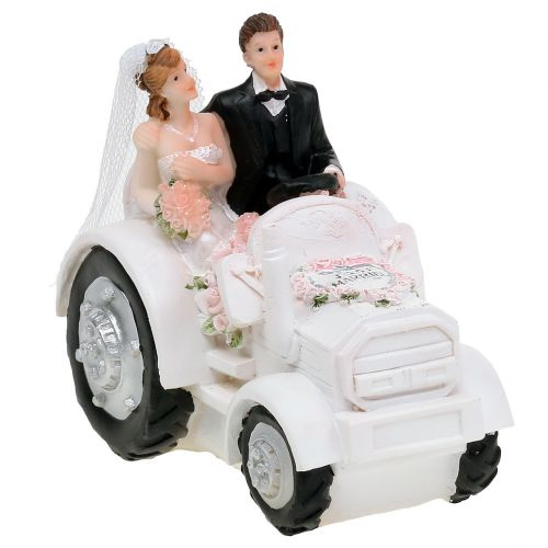 Deco bridal couple on tractor H10cm