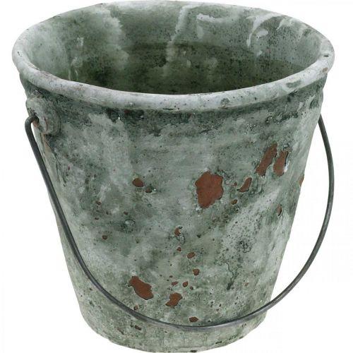 Decorative bucket, flower tub, ceramic bucket, antique look, Ø19.5cm H19cm