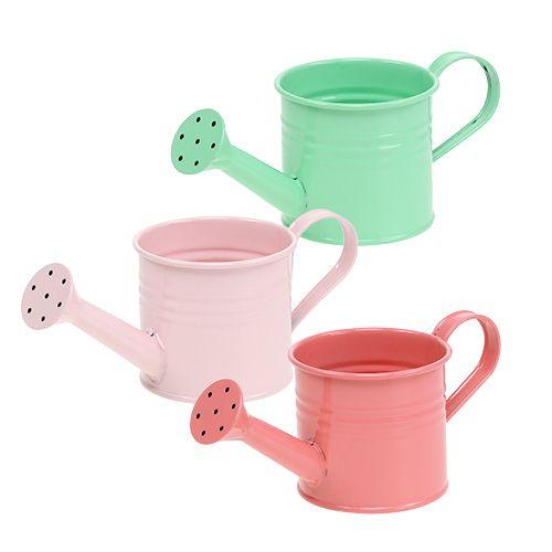 Decorative watering cans pastel assorted Ø7.5cm H7.5cm 8pcs