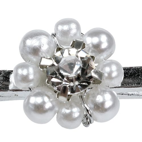 Deco clip with pearl flower 2.5cm 6pcs