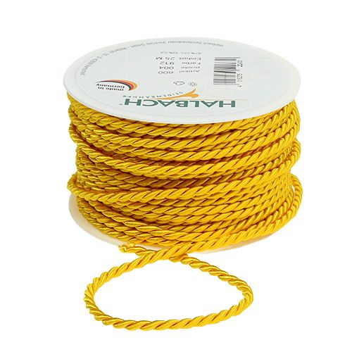 Decorative cord in yellow 4mm 25m